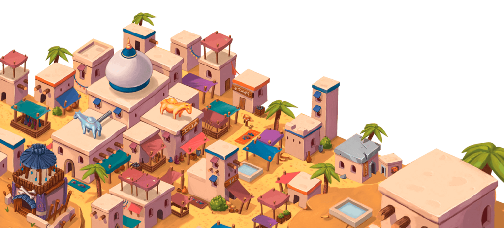 A cartoon colorful middle eastern style city.